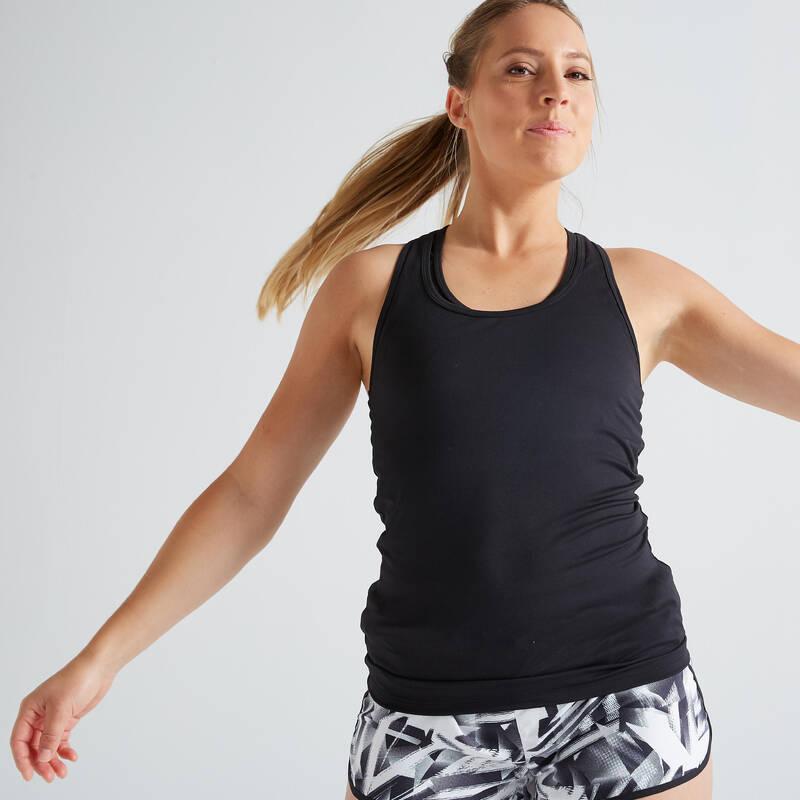 DÁMSKÉ OBLEČENÍ NA KARDIO FITNESS, ZAČÁTEČNICE Fitness - DÁMSKÉ TÍLKO MY TOP 100 ČERNÉ DOMYOS - Fitness oblečení a boty
