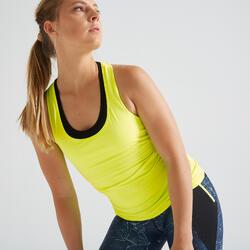 Camiseta sin mangas fitness cardio training mujer amarillo fluo 100