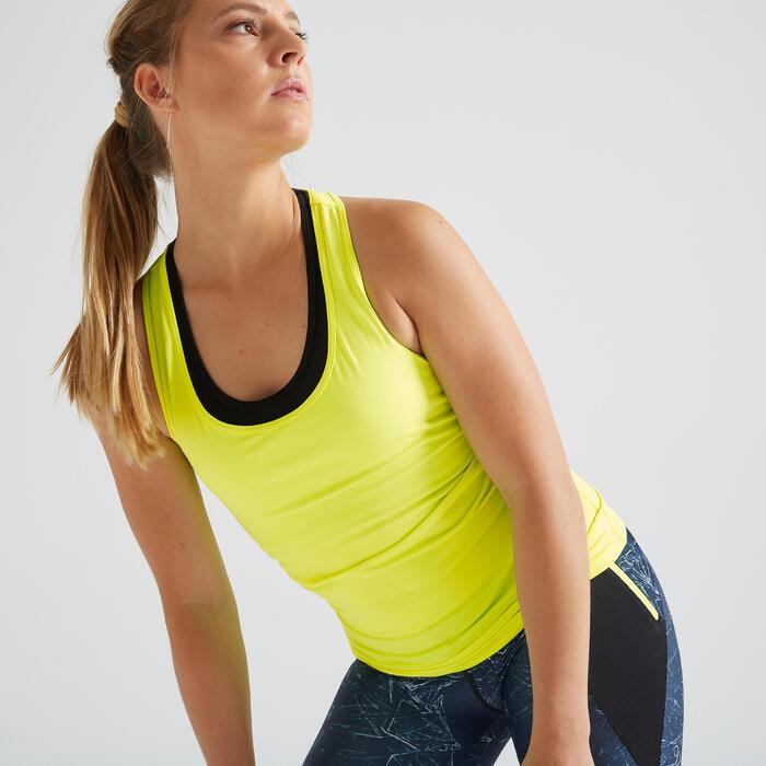 Fitnesstopje voor dames 100 fluogeel