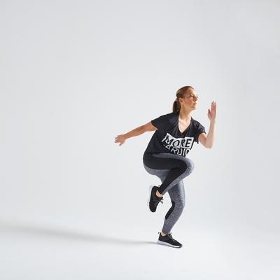 120 Women's Fitness Cardio Training T-Shirt - Black