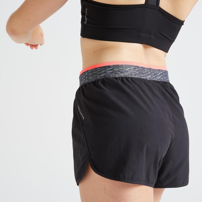 女款有氧健身寬版短褲100-黑色