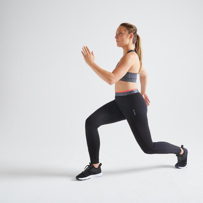 女款有氧健身訓練緊身褲100-黑色