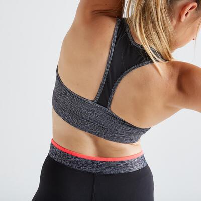 100 Women's Zip-Up Fitness Cardio Training Sports Bra - Mottled Grey