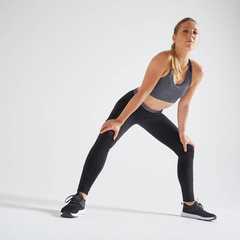 DÁMSKÉ OBLEČENÍ NA KARDIO FITNESS, ZAČÁTEČNICE Fitness - DÁMSKÉ LEGÍNY 100 ČERNÉ DOMYOS - Fitness oblečení a boty