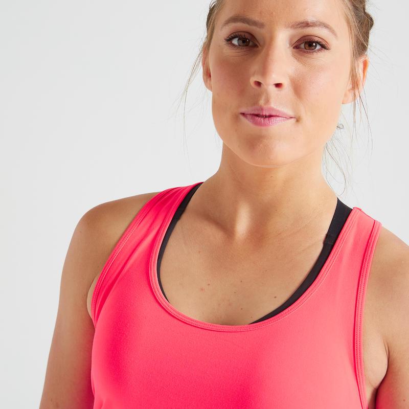 Polera Sin Mangas Fitness Cardio Domyos MyTop 100 mujer rosa