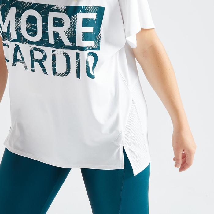 T-shirt voor cardiofitness dames 120 wit