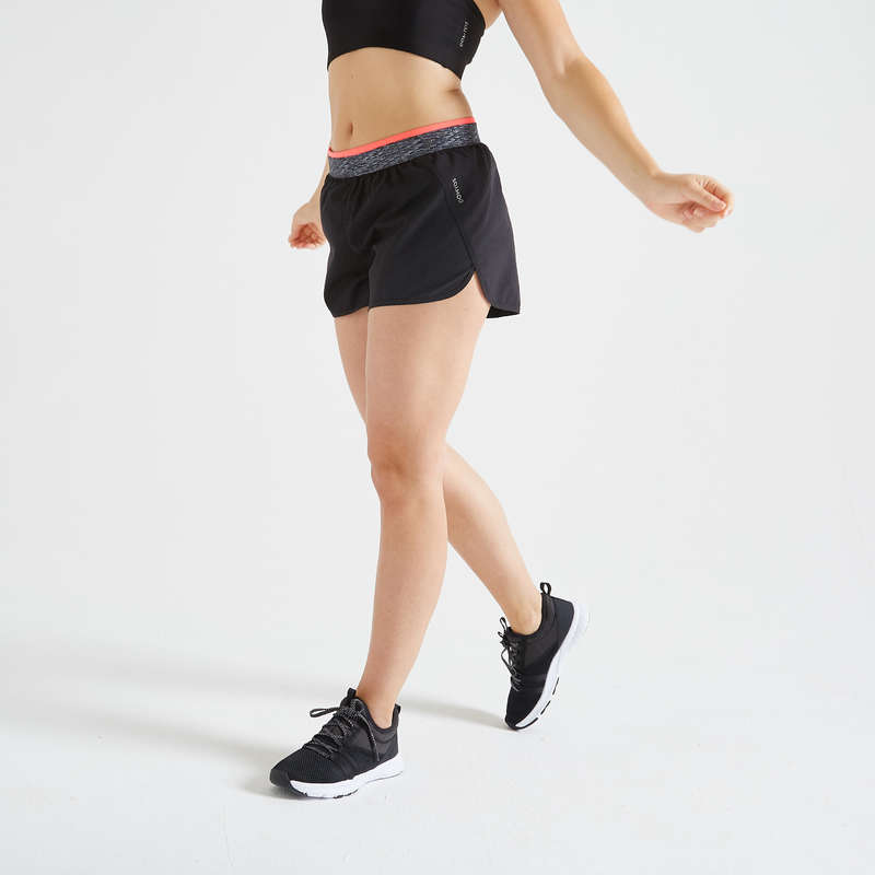 WOMAN FITNESS ENERGY APPAREL Fitness and Gym - FST 100 Loose Shorts - Black DOMYOS - Fitness and Gym