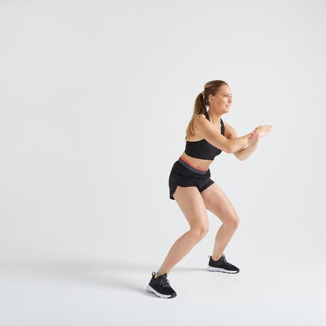 686a9b6c949774 Short loose fitness cardio training femme noir 100
