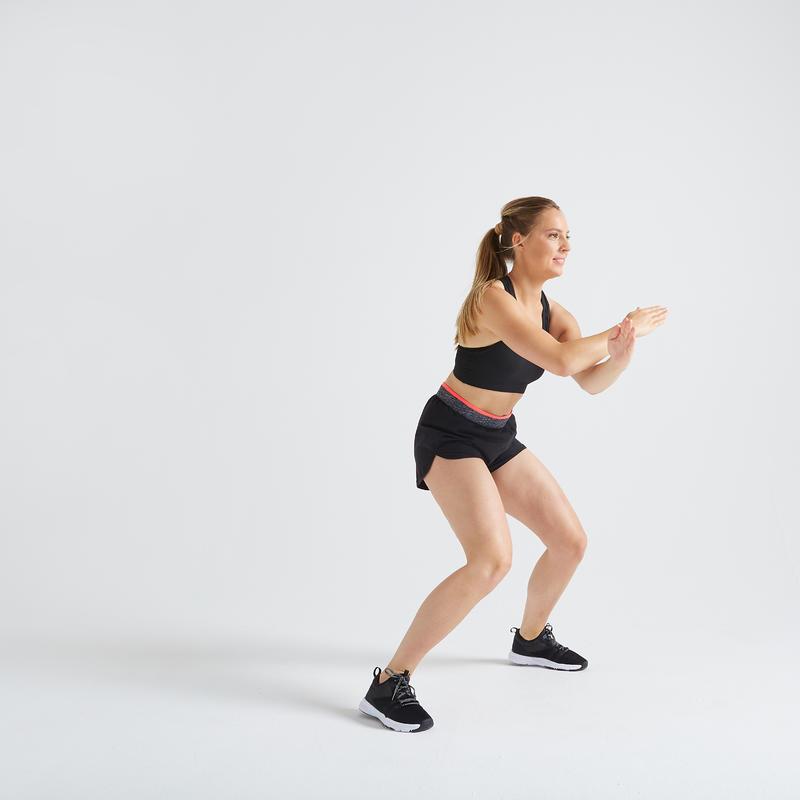 Short deportivo Cardio Fitness Domyos 100 loose mujer negro