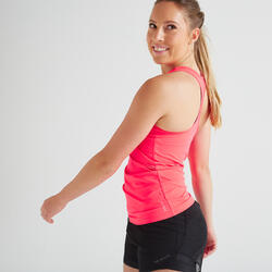 Camiseta sin mangas fitness cardio-training mujer rosa 100