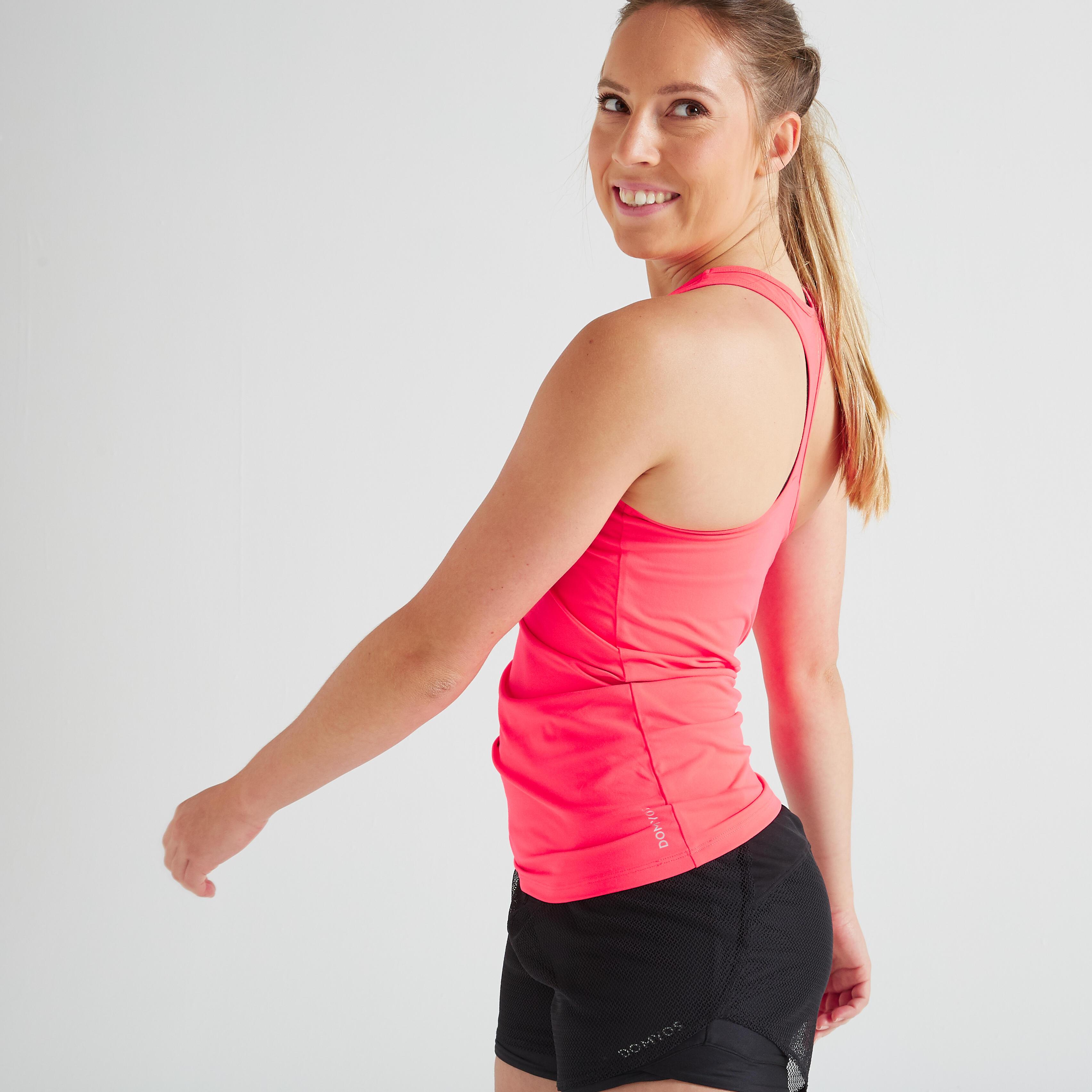 My Top 100 Fitness Cardio Damen rosa | Sportbekleidung > Sporttops > Trainingstops | Rot - Rosa | Domyos