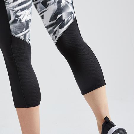 120 Women's Fitness Cardio Training 7/8 Leggings - Black