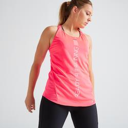 Camiseta sin mangas tirantes Cardio Fitness Domyos 120 mujer rosa coral