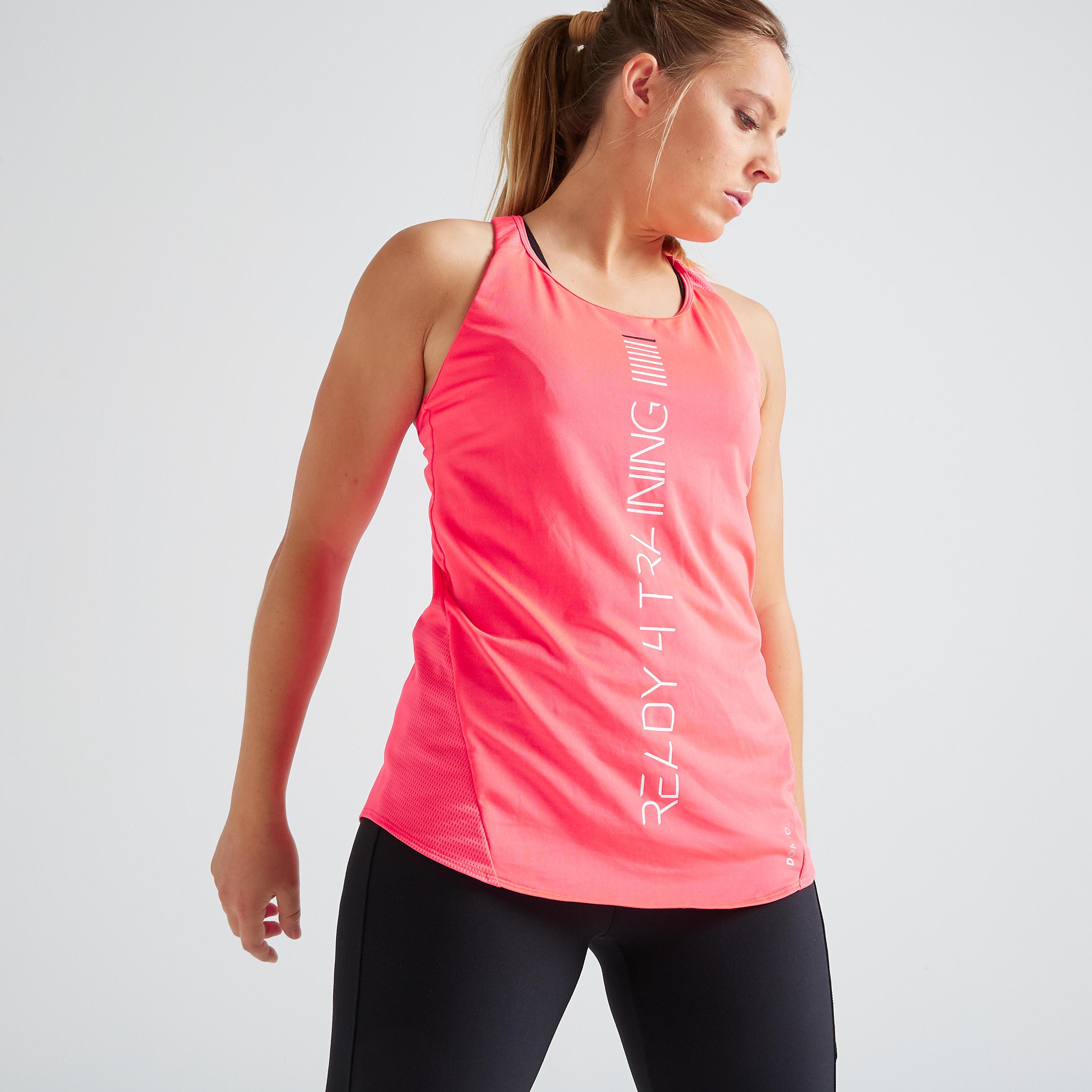 Top FTA 120 Fitness Cardio Damen rosa | Sportbekleidung > Sporttops > Trainingstops | Rot - Rosa | Domyos