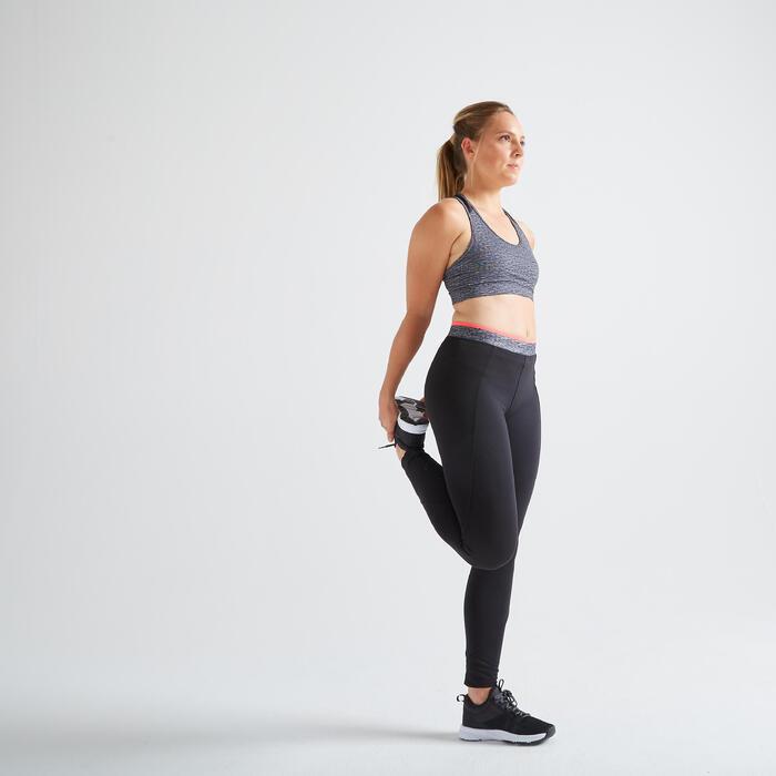 Sportbeha voor cardiofitness 100 rits gemêleerd grijs