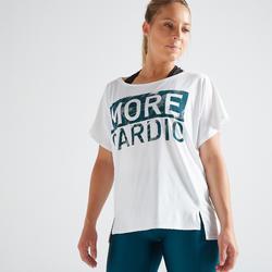 T-shirt entraînement cardio femme blanc 120