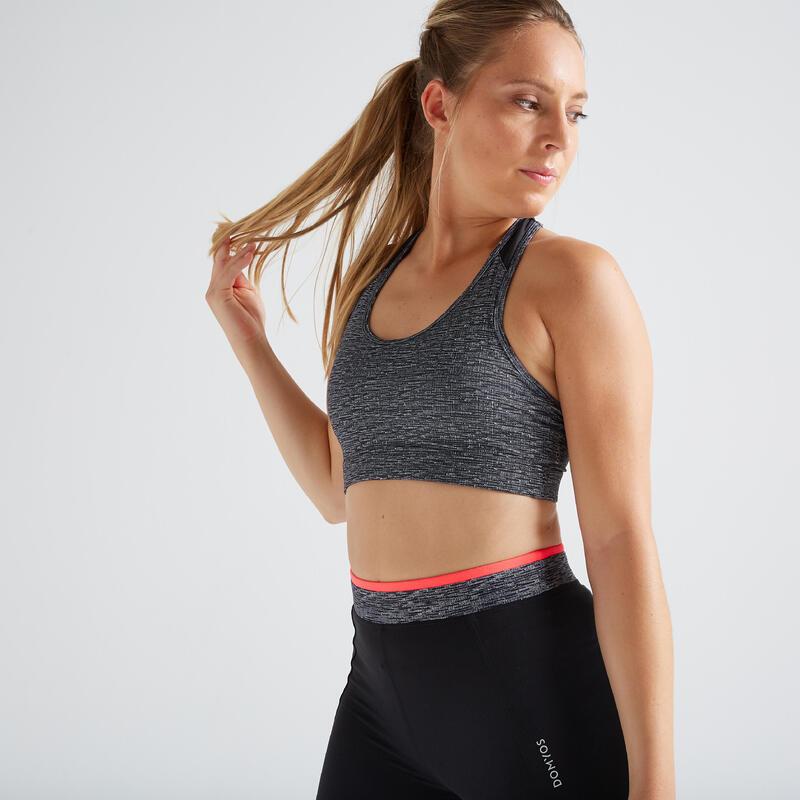 Brassière fitness cardio training femme gris chinée 100