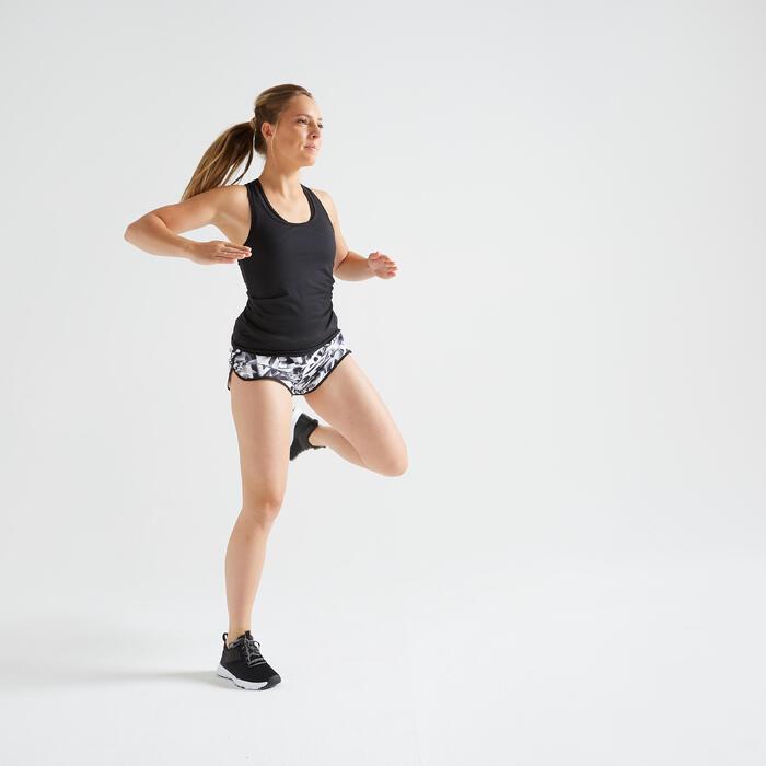 Sporthose kurz FST 100 loose Fitness Cardio Damen mit Grafikprint