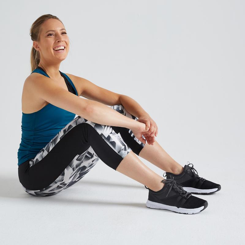 Legging 7/8 entraînement cardio femme noir 120