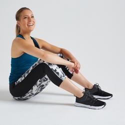 Леггинсы короткие для фитнеса с карманом для телефона с принтом