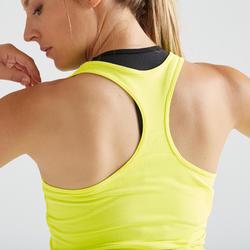 Débardeur fitness cardio training femme jaune 100