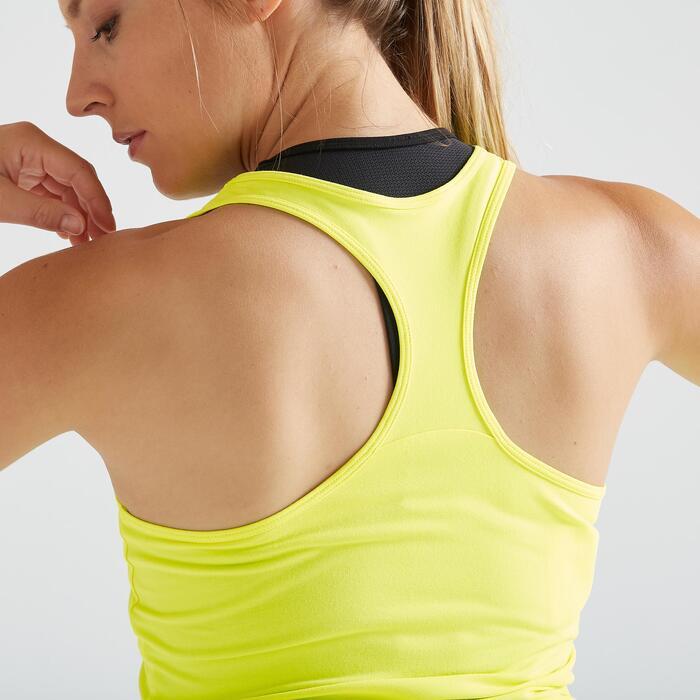 Débardeur fitness cardio training femme jaune fluo 100