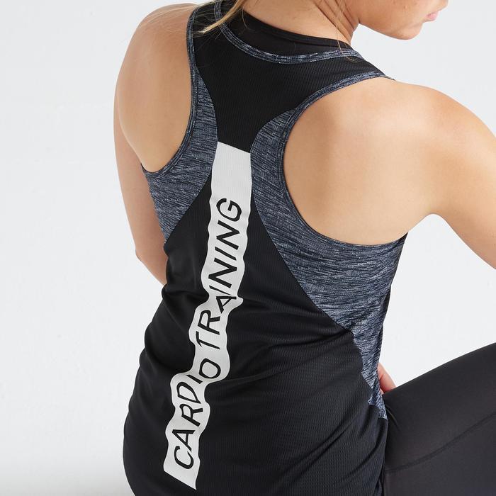 Débardeur fitness cardio training femme chiné gris 120