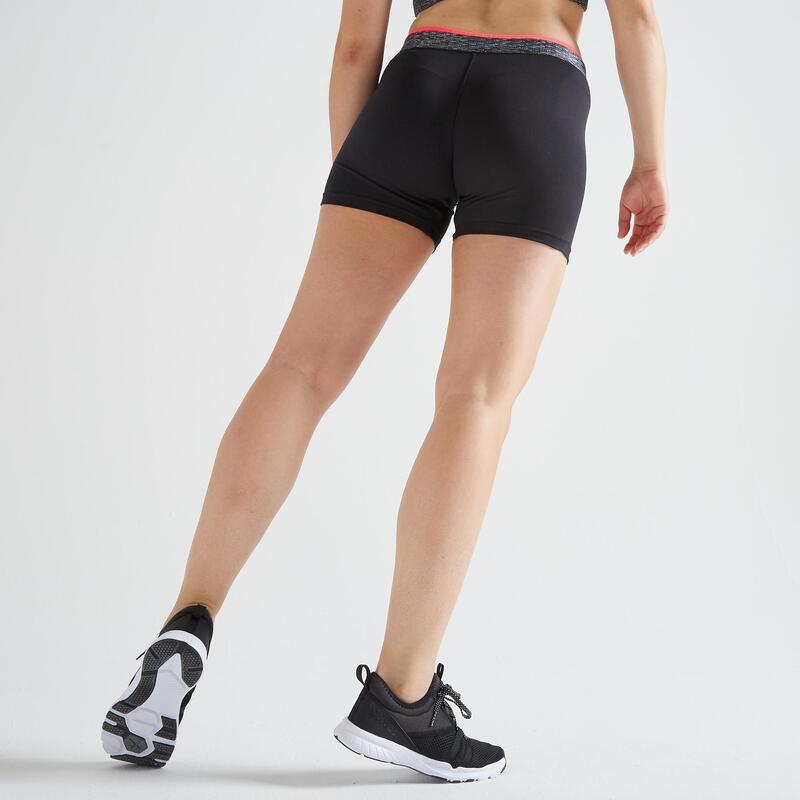 Pantaloncini aderenti donna fitness 100 neri