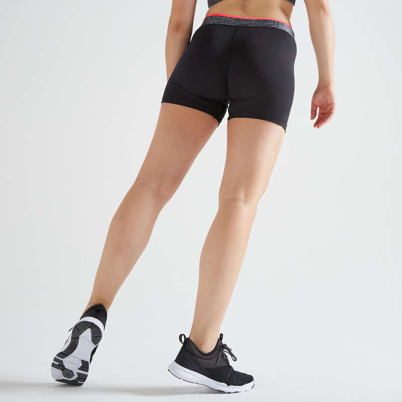 WOMAN FITNESS ENERGY APPAREL Fitness and Gym - FST 100 Shorts - Black DOMYOS - Fitness and Gym