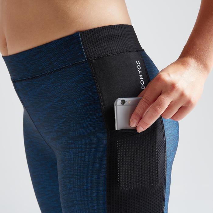 Fitness legging 120 voor dames 7/8, blauw met print