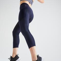 Mallas Leggings deportivos piratas Cardio Fitness Domyos 120 mujer azul