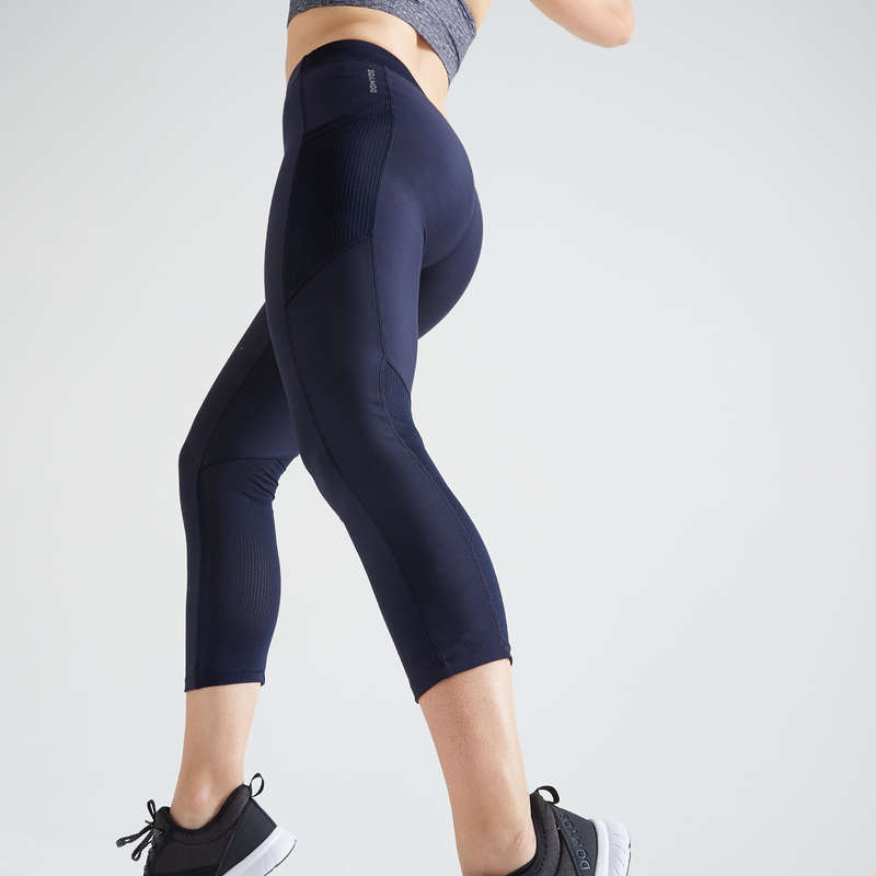 WOMAN FITNESS ENERGY APPAREL Fitness and Gym - FLE 120 7/8 Leggings - Blue DOMYOS - Gym Activewear