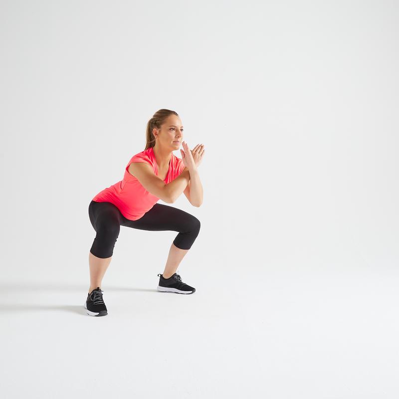 T-shirt fitness cardio training femme rose 100