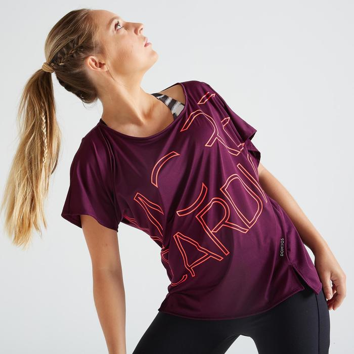 T-shirt voor cardiofitness dames 120 bordeaux print