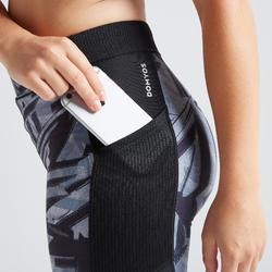 Legging voor cardiofitness dames 120 grijs