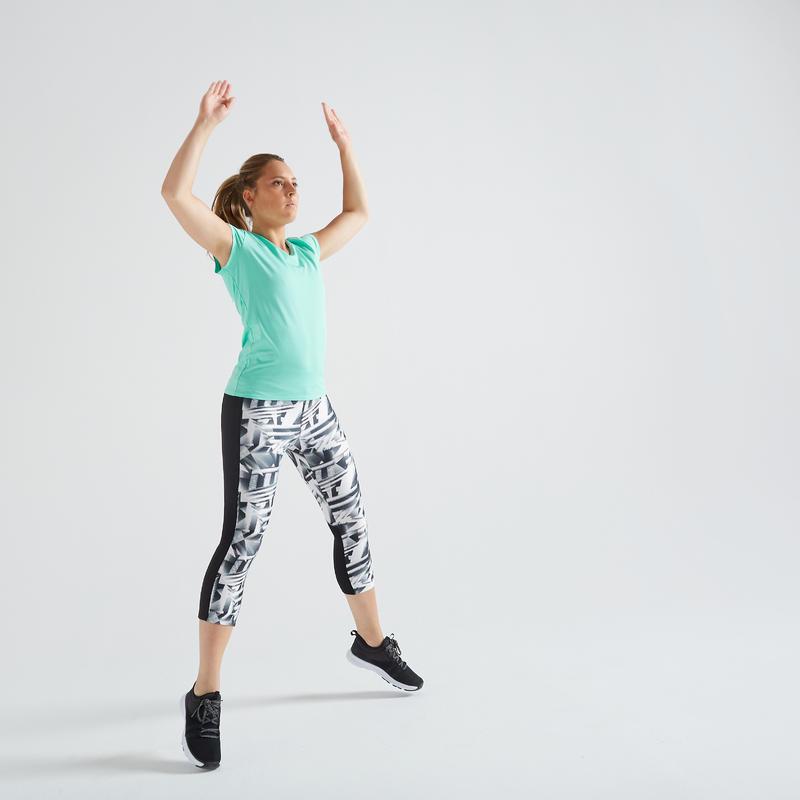 T-shirt fitness cardio training femme bleu turquoise 100