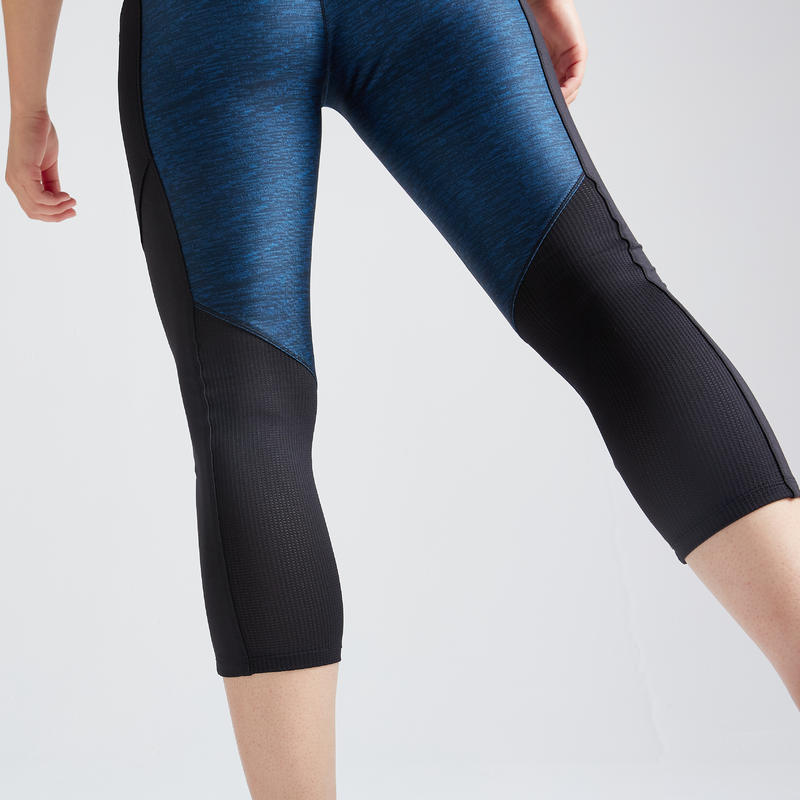 กางเกงเลกกิ้ง 7/8 ส่วนเพื่อการออกกำลังกายแบบคาร์ดิโอสำหรับผู้หญิงรุ่น FLE 120 (สีน้ำเงินพิมพ์ลาย)