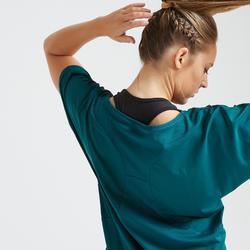 T-shirt fitness cardio training femme bleu 120