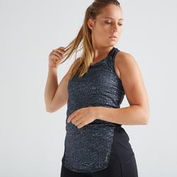 Camiseta sin mangas tirantes Cardio Fitness Domyos 120 mujer negro jaspeado