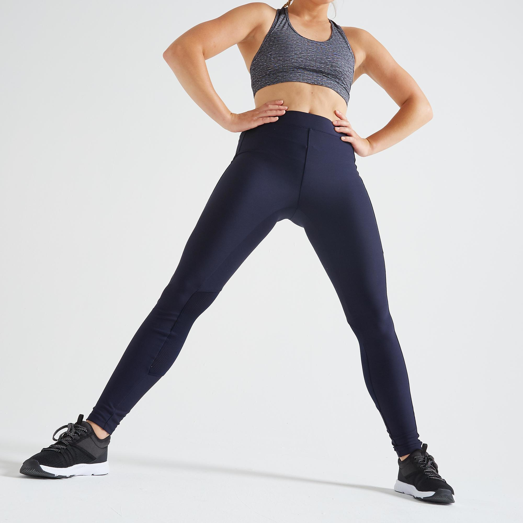 Legging Fitness Cardio Training Femme Bleu Marine 120 Domyos By Decathlon