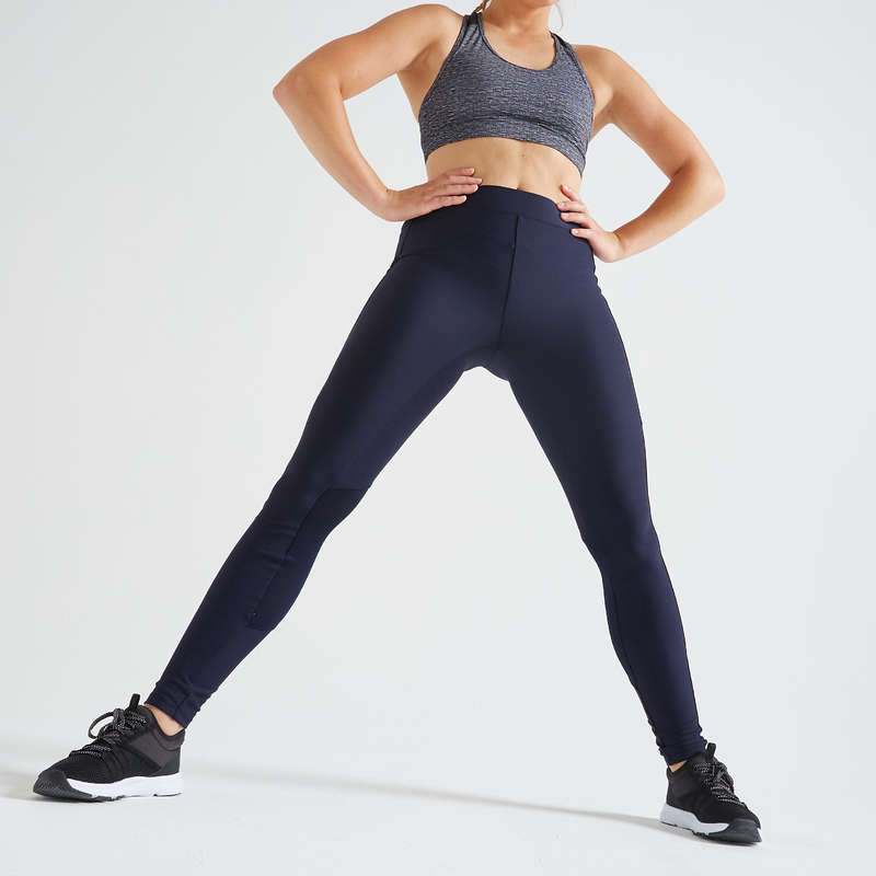 WOMAN FITNESS ENERGY APPAREL Fitness and Gym - Leggings FTI 120 - Navy DOMYOS - Gym Activewear