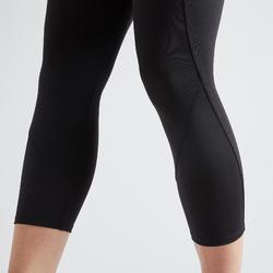 女款有氧健身訓練7/8緊身褲100-黑色