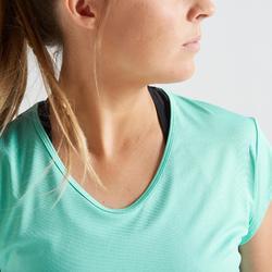 T-shirt voor cardiofitness dames turquoise 100 blauw