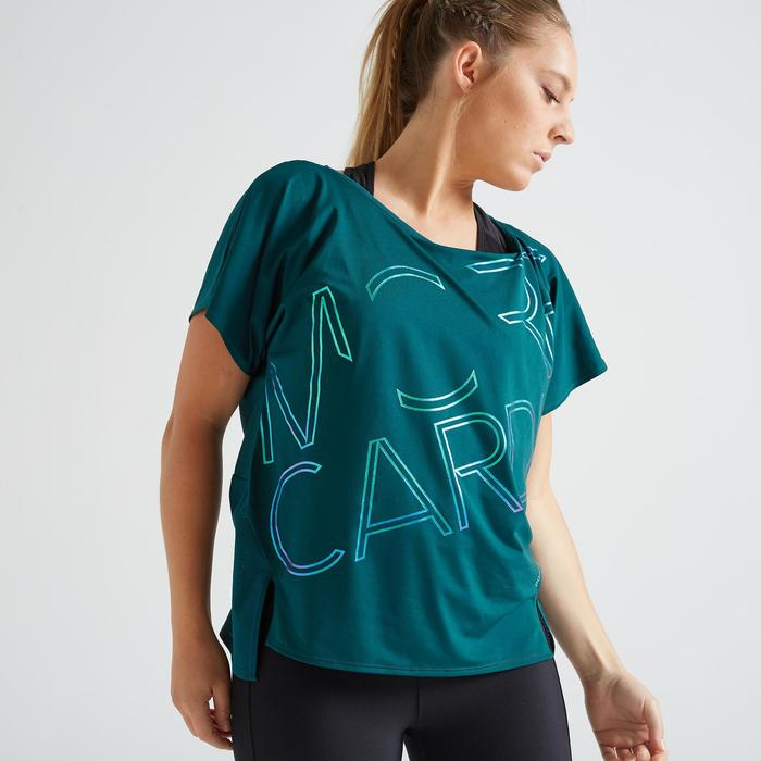 T-shirt fitness cardio training femme bleu 120
