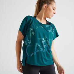 T-shirt voor cardiofitness dames 120 blauw