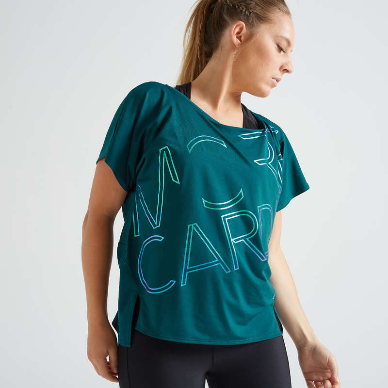 WOMAN FITNESS ENERGY APPAREL Fitness and Gym - FTS 120 T-Shirt - Blue DOMYOS - Fitness and Gym