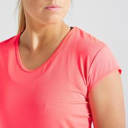 Camiseta manga corta Cardio Fitness Domyos FTS 100 mujer rosa coral