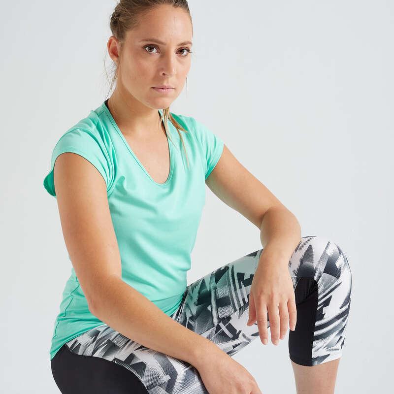 DÁMSKÉ OBLEČENÍ NA KARDIO FITNESS, ZAČÁTEČNICE Fitness - DÁMSKÉ TRIČKO 100 MODRÉ DOMYOS - Fitness oblečení a boty
