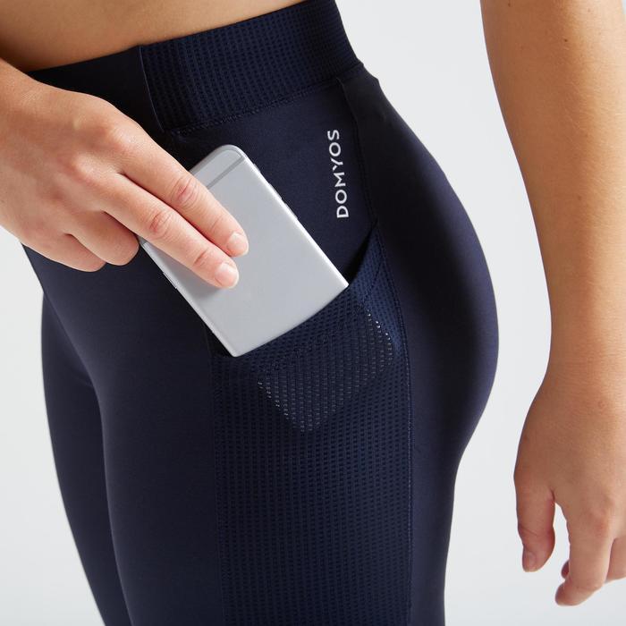 Fitness legging 120 voor dames, marineblauw