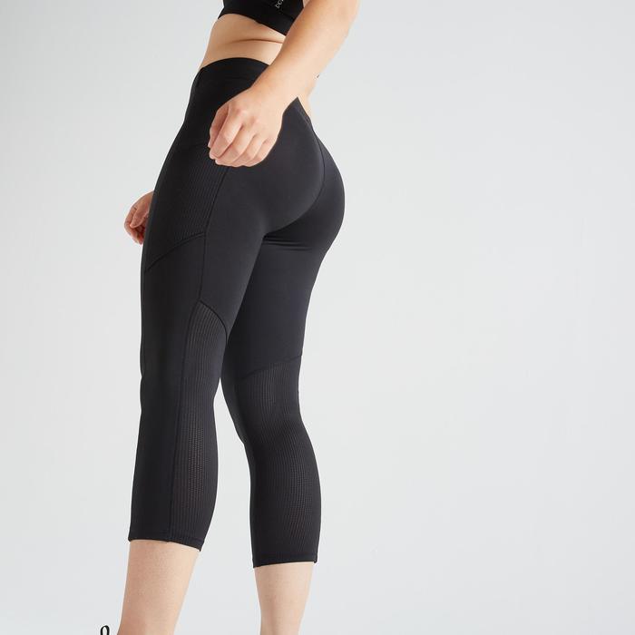 7/8-legging 120 voor cardiofitness dames zwart